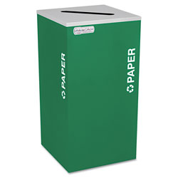 Ex-Cell Metal Kaleidoscope Collection Paper-Recycling Receptacle, 24 gal, Emerald Green