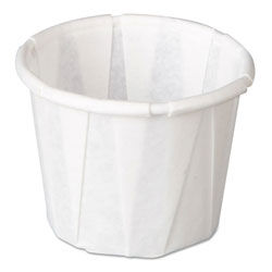Genpak Squat Paper Portion Cup, Pleated, .5oz, White, 250/Sleeve, 20 Sleeve/Carton