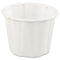 Genpak Squat Paper Portion Cup, .75oz, White, 250/Bag, 20 Bags/Carton