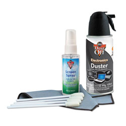 Dust-Off® Premium Keyboard Cleaning Kit, 50 mL Bottle, 5 1/4 in x 7 1/2 in Cloth, 4 Swabs
