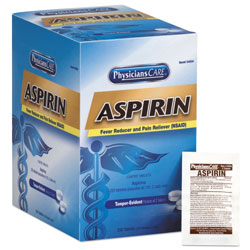 First Aid Only Aspirin Tablets, 250 Doses per box