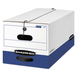 Fellowes LIBERTY Heavy-Duty Strength Storage Boxes, Letter Files, 12.25 in x 24.13 in x 10.75 in, White/Blue, 12/Carton