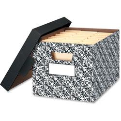 Fellowes STOR/FILE Decorative Medium-Duty Storage Boxes, Letter/Lgl, Black/White Brocade