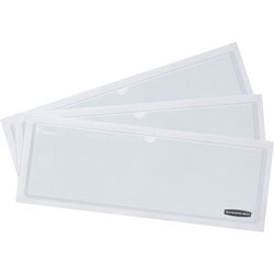 Fellowes Label Pockets, PVC, f/Storage Boxes, 9-1/4 in x 3-1/4 in, 48/PK, White