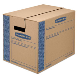 Fellowes SmoothMove Prime Moving & Storage Boxes, Small, Regular Slotted Container (RSC), 16 in x 12 in x 12 in, Brown Kraft/Blue, 10/Carton