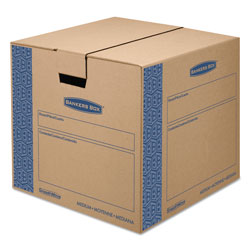 Fellowes SmoothMove Prime Moving & Storage Boxes, Medium, Regular Slotted Container (RSC), 18 in x 18 in x 16 in, Brown Kraft/Blue, 8/Carton