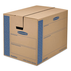 Fellowes SmoothMove Prime Moving & Storage Boxes, Regular Slotted Container (RSC), 24 in x 18 in x 18 in, Brown Kraft/Blue, 6/Carton