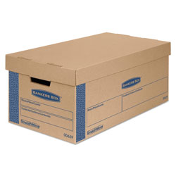 Fellowes SmoothMove Prime Moving & Storage Boxes, Small, Half Slotted Container (HSC), 24 in x 12 in x 10 in, Brown Kraft/Blue, 8/Carton