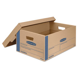 Fellowes SmoothMove Prime Moving & Storage Boxes, Large, Half Slotted Container (HSC), 24 in x 15 in x 10 in, Brown Kraft/Blue, 8/Carton