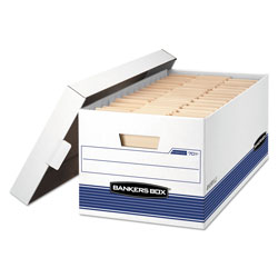 Fellowes STOR/FILE Medium-Duty Storage Boxes, Letter Files, 12.88 in x 25.38 in x 10.25 in, White/Blue, 4/Carton