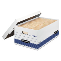 Fellowes STOR/FILE Medium-Duty Storage Boxes, Legal Files, 15.88 in x 25.38 in x 10.25 in, White/Blue, 4/Carton