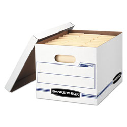Fellowes STOR/FILE Basic-Duty Storage Boxes, Letter/Legal Files, 12.5 in x 16.25 in x 10.5 in, White/Blue, 4/Carton