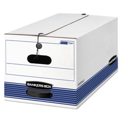 Fellowes STOR/FILE Medium-Duty Strength Storage Boxes, Letter Files, 12.25 in x 24.13 in x 10.75 in, White/Blue, 12/Carton