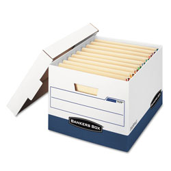 Fellowes STOR/FILE END TAB Storage Boxes, Letter/Legal Files, White/Blue, 12/Carton