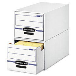 Fellowes STOR/DRAWER Basic Space-Savings Storage Drawers, Legal Files, 16.75 in x 19.5 in x 11.5 in, White/Blue, 6/Carton