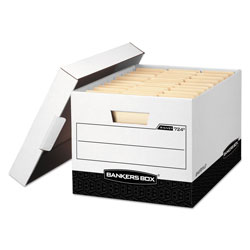 Fellowes R-KIVE Heavy-Duty Storage Boxes, Letter/Legal Files, 12.75 in x 16.5 in x 10.38 in, White/Black, 12/Carton