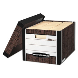 Fellowes R-KIVE Heavy-Duty Storage Boxes, Letter/Legal Files, 12.75 in x 16.5 in x 10.38 in, Woodgrain, 4/Carton