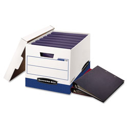 Fellowes BINDERBOX Storage Boxes, Letter Files, 13.13 in x 20.13 in x 12.38 in, White/Blue, 12/Carton