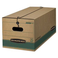 Fellowes STOR/FILE Medium-Duty Strength Storage Boxes, Legal Files, 15.25 in x 24.13 in x 10.75 in, Kraft/Green, 12/Carton