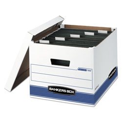 Fellowes HANG'N'STOR Medium-Duty Storage Boxes, Letter/Legal Files, 13 in x 16 in x 10.5 in, White/Blue, 4/Carton