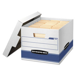 Fellowes STOR/FILE Medium-Duty Letter/Legal Storage Boxes, Letter/Legal Files, 12.75 in x 16.5 in x 10.5 in, White/Blue, 12/Carton