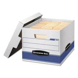 Fellowes STOR/FILE Medium-Duty Letter/Legal Storage Boxes, Letter/Legal Files, 12.75 in x 16.5 in x 10.5 in, White/Blue, 4/Carton