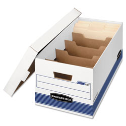 Fellowes STOR/FILE Medium-Duty Storage Boxes with Dividers, Letter Files, 12.88 in x 25.38 in x 10.25 in, White/Blue, 12/Carton
