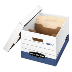 Fellowes R-KIVE Heavy-Duty Storage Boxes with Dividers, Letter/Legal Files, 12.75 in x 16.5 in x 10.38 in, White/Blue, 12/Carton