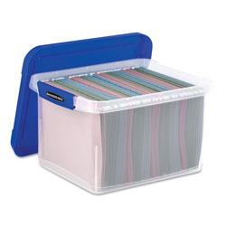 Fellowes Heavy Duty Plastic File Storage, Letter/Legal Files, 14 in x 17.38 in x 10.5 in, Clear/Blue