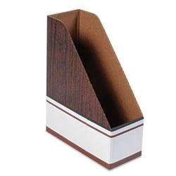 Fellowes Corrugated Cardboard Magazine File, 4 x 9 x 11 1/2, Wood Grain, 12/Carton