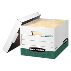Fellowes R-KIVE Heavy-Duty Storage Boxes, Letter/Legal Files, 12.75 in x 16.5 in x 10.38 in, White/Green, 12/Carton