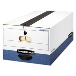 Fellowes LIBERTY Plus Heavy-Duty Strength Storage Boxes, Legal Files, 15.25 in x 24.13 in x 10.75 in, White/Blue, 12/Carton