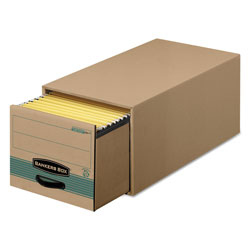 Fellowes STOR/DRAWER STEEL PLUS Extra Space-Savings Storage Drawers, Letter Files, 14 in x 25.5 in x 11.5 in, Kraft/Green, 6/Carton