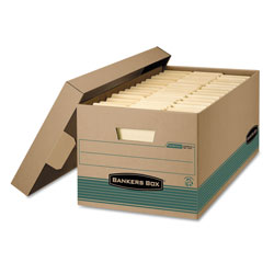 Fellowes STOR/FILE Medium-Duty Storage Boxes, Letter Files, 12.88 in x 25.38 in x 10.25 in, Kraft/Green, 12/Carton