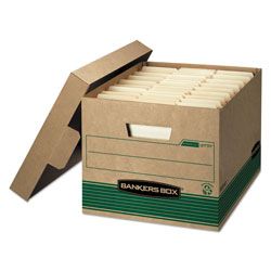 Fellowes STOR/FILE Medium-Duty 100% Recycled Storage Boxes, Letter/Legal Files, 12.5 in x 16.25 in x 10.25 in, Kraft/Green, 12/Carton
