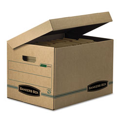 Fellowes SYSTEMATIC Basic-Duty Attached Lid Storage Boxes, Letter/Legal Files, Kraft/Green, 12/Carton