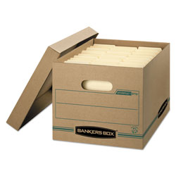 Fellowes STOR/FILE Basic-Duty Storage Boxes, Letter/Legal Files, 12.5 in x 16.25 in x 10.5 in, Kraft/Green, 12/Carton