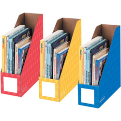 Fellowes Magazine File Holders, Letter, 4 in x 11 in x 12-1/4 in, 3/PK, Assorted