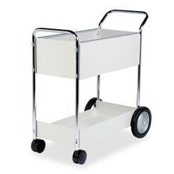 Fellowes Steel Mail Cart, 150-Folder Capacity, 20w x 40.5d x 39h, Dove Gray