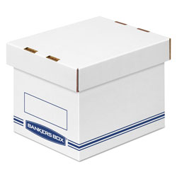 Fellowes Organizer Storage Boxes, Small, 6.25 in x 8.13 in x 6.5 in, White/Blue, 12/Carton