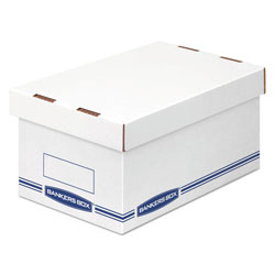Fellowes Organizer Storage Boxes, Medium, 8.25 in x 12.88 in x 6.5 in, White/Blue, 12/Carton