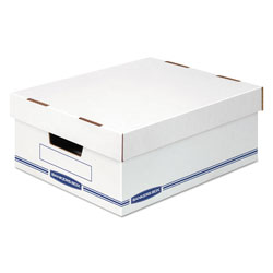 Fellowes Organizer Storage Boxes, Large, 12.75 in x 16.5 in x 6.5 in, White/Blue, 12/Carton