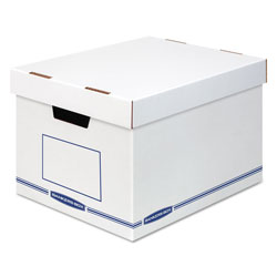 Fellowes Organizer Storage Boxes, X-Large, 12.75 in x 16.5 in x 10.5 in, White/Blue, 12/Carton