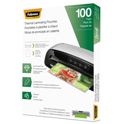 Fellowes Laminating Pouches, 5 mil, 9 in x 11.5 in, Gloss Clear, 100/Pack
