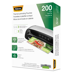 Fellowes Laminating Pouches, 5 mil, 9 in x 11.5 in, Gloss Clear, 200/Pack