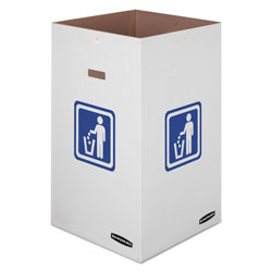Fellowes Waste and Recycling Bin, 42 gal, White, 10/Carton