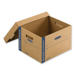 Fellowes SmoothMove Maximum Strength Moving Boxes, Small, Half Slotted Container (HSC), 15 in x 15 in x 12 in, Brown Kraft/Blue, 8/Pack