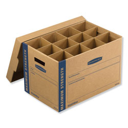 Fellowes SmoothMove Kitchen Moving Kit, Medium, Half Slotted Container (HSC), 18.5 in x 12.25 in x 12 in, Brown Kraft/Blue