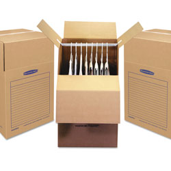 Fellowes SmoothMove Wardrobe Box, Regular Slotted Container (RSC), 24 in x 24 in x 40 in, Brown Kraft/Blue, 3/Carton