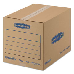 Fellowes SmoothMove Basic Moving Boxes, Small, Regular Slotted Container (RSC), 16 in x 12 in x 12 in, Brown Kraft/Blue, 25/Bundle